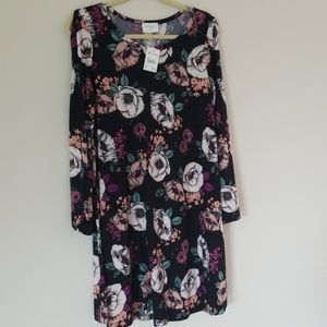 Everly Brand Floral Dress w/ Open Sleeves